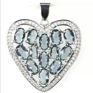 London Blue Topaz And CZ Heart Pendant 925 New